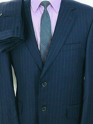 40S Jos A Bank Signature Gold Mens 2 Bttn Wool Suit Dk Navy Pin Pants 34 Mint!