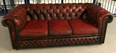 LEATHER CHESTERFIELD 3 SEATER SETTEE BUTTONED SOFA Oxblood