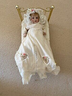 Hamilton Collection Antique Porcelain Baby Doll Brass Bed And Linens