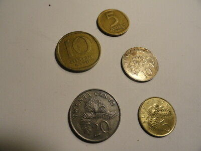 5 COINS. SINGAPORE 20 Cents 1989.10 Cents 1986.5 Cents 1995. ISRAEL 10 Agorot