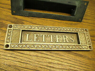Old Brass ? Bronze ? Eastlake Mail Letter Slot Plate Cover Ornate Detail Nice