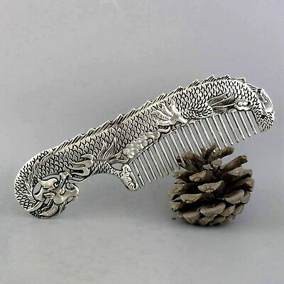 Collectable China Old Miao Silver Hand-Carved Myth Dragon Moral Auspicious Comb