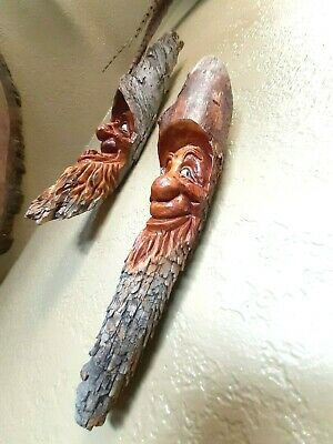 Vintage Don Marlin Hand Carved Tree Wood Renaissance Mystical Faces