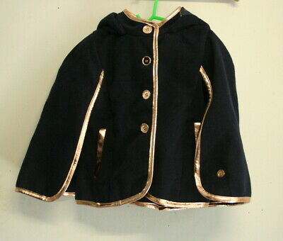 Girls SISTA Navy Blue & Rose Gold Buttoned Through Hooded CAPE Size 4 BNWT