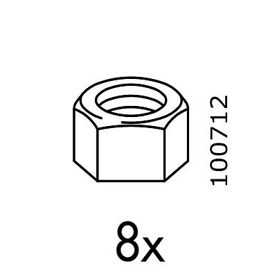 4 IKEA Hex Head M8 Metric Bolts Part # 122341 4 Washers /& 2 Nuts Part # 100712