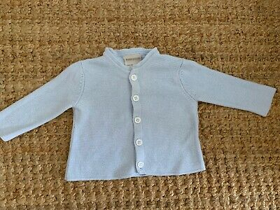 Marquise Pale Blue Knitted Baby Cardigan 100% Cotton - Size 00
