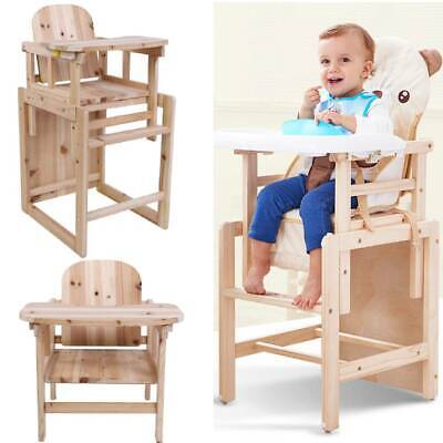 Baby Highchair Infant High Feeding Tray 3 in 1 Toddler Table Chair Set Wooden