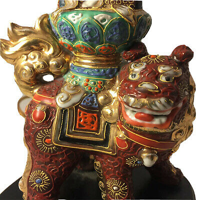 Asian Foo Dog Lamp Wood Base Japan Gold Accents Vintage