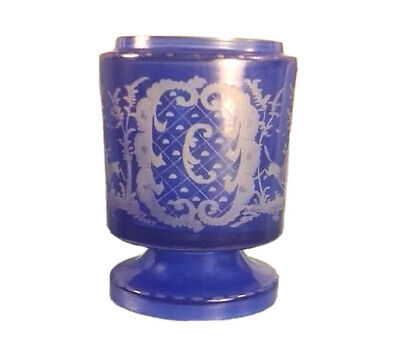 Antique Victorian Czech Cobalt Glass Vase Vessel Etched Glass