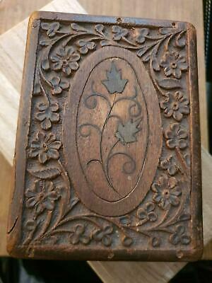 Antique Japanese carved wood box