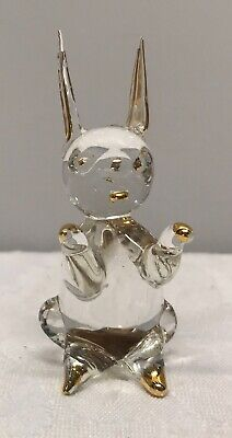 Small Glass With Gold Trims Rabbit Figure - 6cm Tall