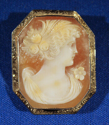 Antique 14K Solid Gold Victorian Art Nouveau Hand Carved Cameo Brooch