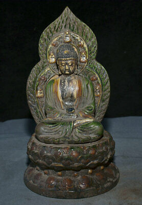 "10.8"" Old China Tang Sancai ceramics Dynasty Shakyamuni Amitabha Buddha Statue"