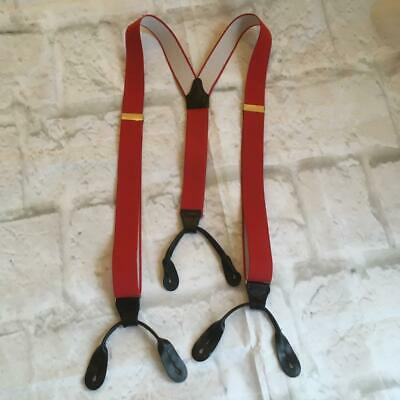 Vintage Suspender Y Button Trouser Braces Bright Red Elasticated Leather Detail