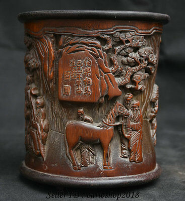 Chinese Old Bamboo Carved Old Man Fine Horse Pine Tree Pencil Vase Brush Pot