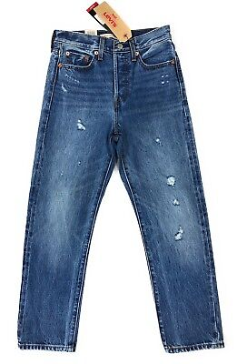 Levis Selvedge Red Line Denim Jeans Wedgie Straight Fit Womens Distressed $158