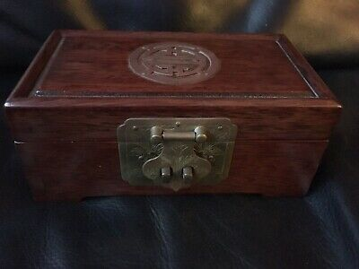 Old Chinese Wooden Brass Jewellery Trinket Box with Red Silk Inside