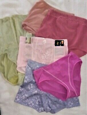 Lot Of 6 Vintage Brand Name Colorful Control Panties M/6