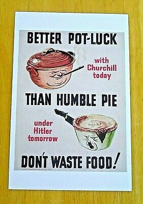Imperial War Museum Postcard ~ Better Pot-Luck With Churchill Today.. Ww2 Poster