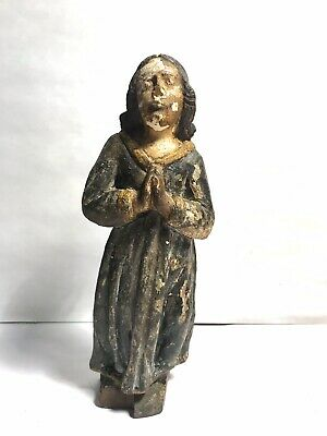 Antique Wood Carved Renaissance Medieval Statue Santos Devotional