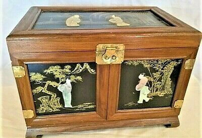 Antique Beautiful Asian Chinese Chinoiserie Jade, Wood, Lacerqued Jewelry Box