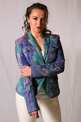 NEW Theory leather blazer piazza watermelon suede coat dusty blue pink purple M