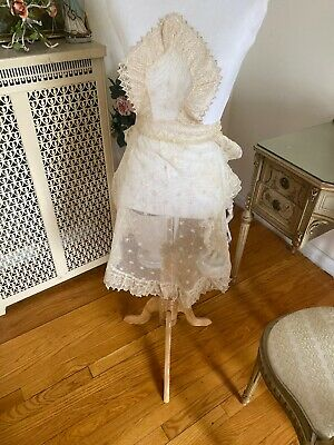 Antique Embroidered Tambour Net lace apron Ornate Unfinished?  French Maid