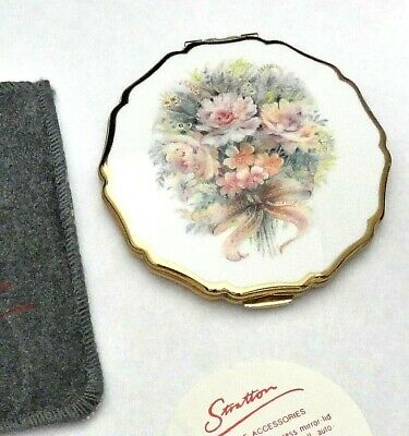 Stratton England – Floral Wedding Bouquet ~ Powder Compact Mirror ~ New Complete