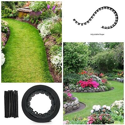 Garden Lawn Edging Flexible Plastic Garden Border 10m + 30 STRONG Pegs (Round)
