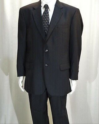 Jos. A. Banks~Ec!!~Black Pinstriped Wool Men's 43R Suit~Pleated/Cuffed 36X28