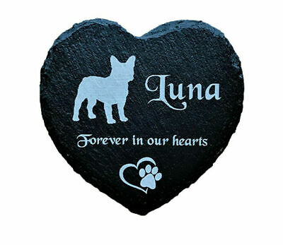 Personalised Slate Heart Pet Memorial Grave Marker Plaque for ANY Dog Breed