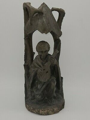 Vintage Carved Wood Man Playing Guitar / Lute under Awning, detailed hand carved