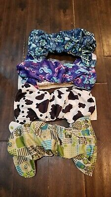 Blueberry OS One Size Simplex AIO All In One Diapers Lot of 4 WORN 12-35 lbs