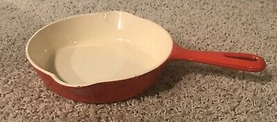 """Cst Iron Griswold Skillet Porcelain Coated """"Red Flamingo""""  6 1/2""""  (HE551)"""