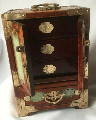 """VintAge CHINESE 12""""OH Wood JEWELRY CHEST BOX Hand Carved JADE Brass EUC"""