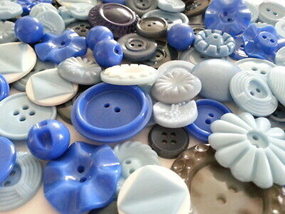 Lot 100 Mixed Assorted BLUE Vintage & New Buttons