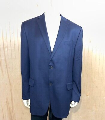 Michael Kors Men 46L Long Suit Jacket Navy Blue Classic Fit Stretch Performance