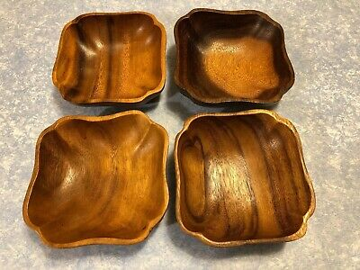 Genuine Wooden Hand Crafted Monkey Pod Salad Bowls Set of 4 Made in Philippines