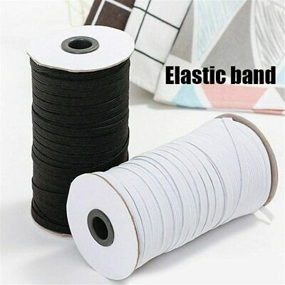 Flat Elastic Cord Black/White Stretchy Bands 4mm~14mm Ear Tie Rope DIY Sewing