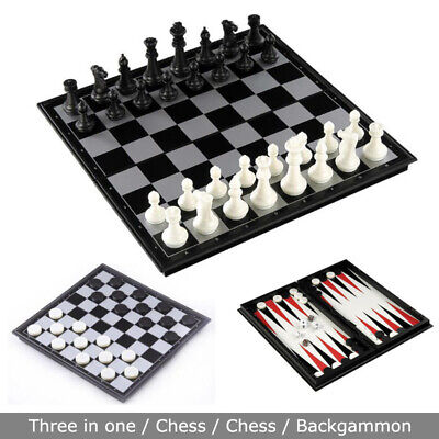 Folding Board Chess With black and white magnetic 3in1 Chess Game Toys Set UK