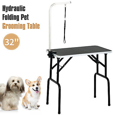 """32"""" Adjustable Foldable Dog Cat Pet Grooming Table w/Arm Rubber Feet Black"""