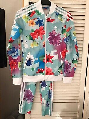 Adidas Girls Floral Tracksuit Set 13 Years