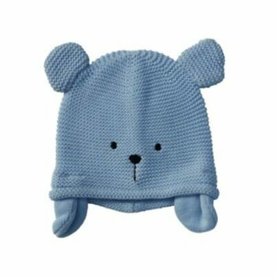Baby Knitted Hat- Blue Teddy