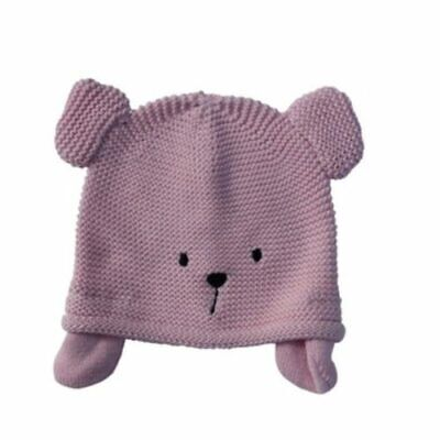 Baby Knitted Hat- Pink Teddy