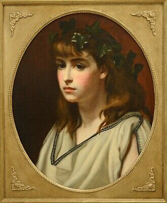 Fine Antique 19th Century Portrait Of A Young Lady In Grecian Robes Oil Painting