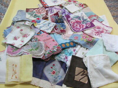 57 vintage cotton hankies mostly floral some new most used 1950's retro