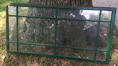Antique Vintage Large Window 12 Pane old Green Paint Architectural Salvage door