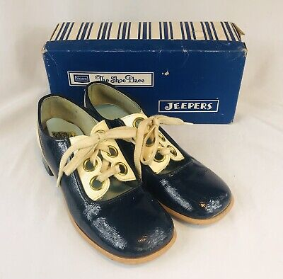 Vtg 1960s 70s Jeepers Children's Navy Blue White Patent Leather? Shoes w/ Box