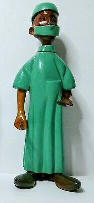 Vintage Romer Italian Wood Hand-Carved Surgeon Doctor w/ Knife Folk Art Gift