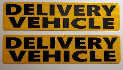 Delivery Vehicle Magnetic Signs Bold Black On Yellow Reflective Courier Food